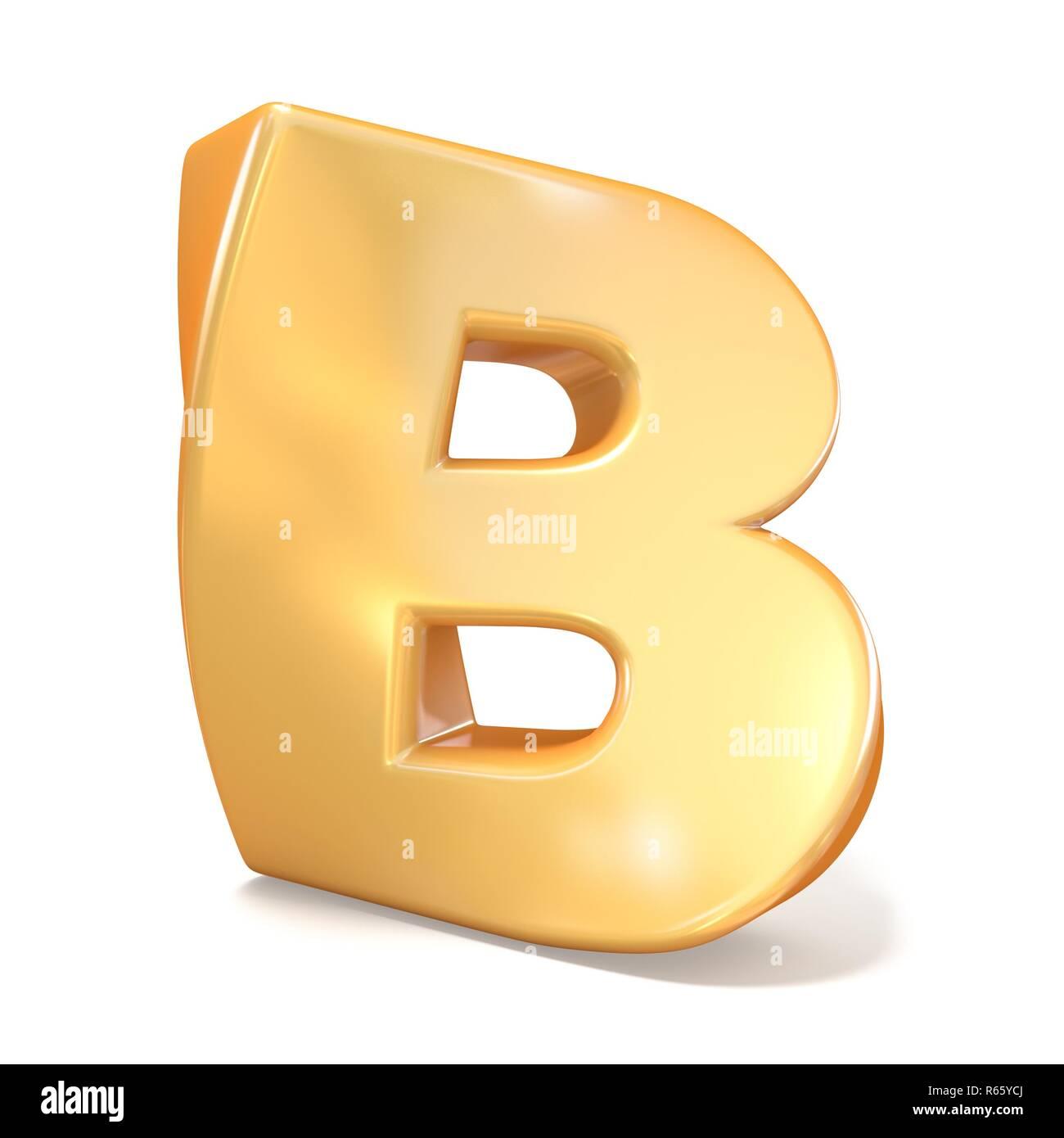 Orange twisted font uppercase letter B 3D - Stock Image