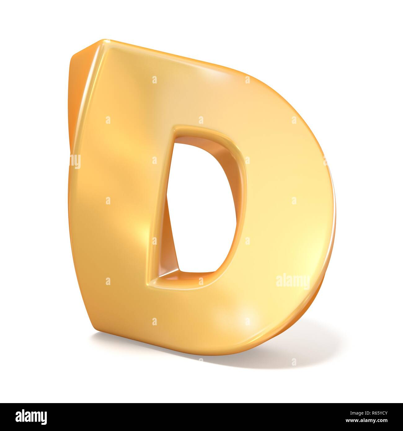 Orange twisted font uppercase letter D 3D - Stock Image