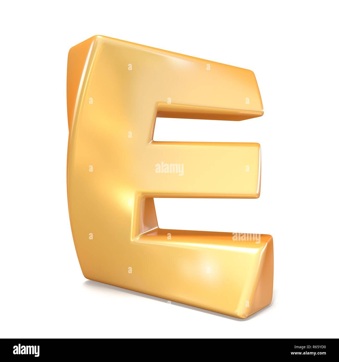 Orange twisted font uppercase letter E 3D - Stock Image