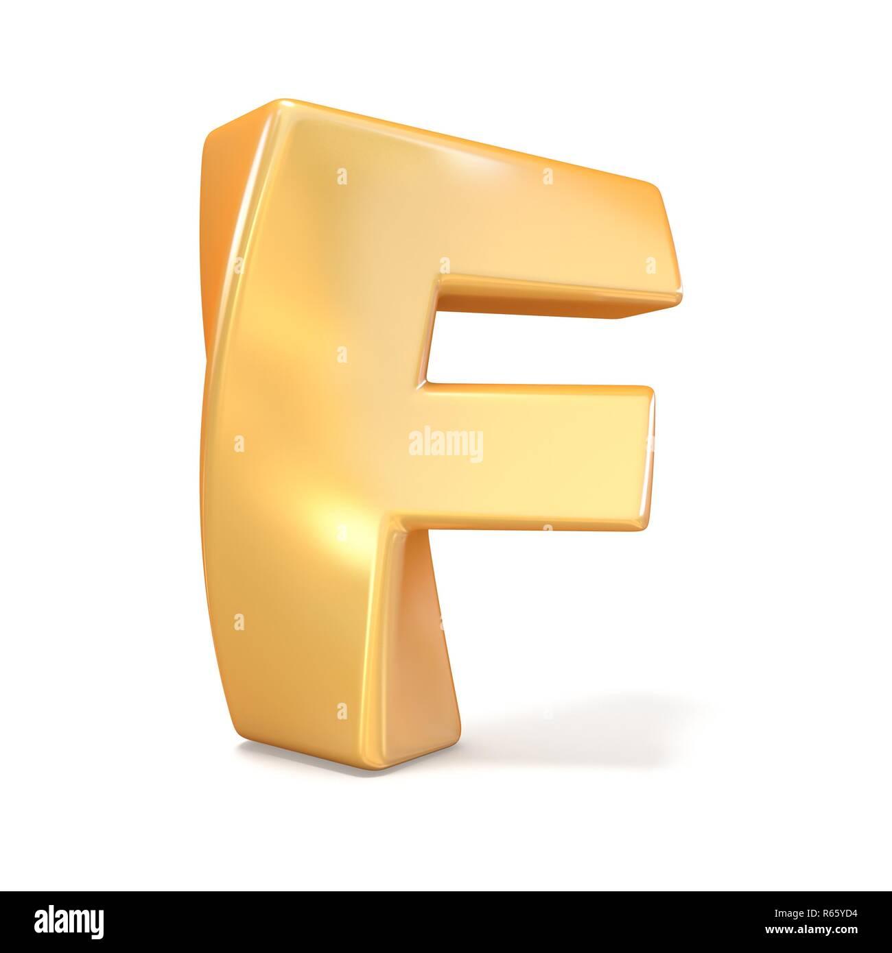 Orange twisted font uppercase letter F 3D - Stock Image