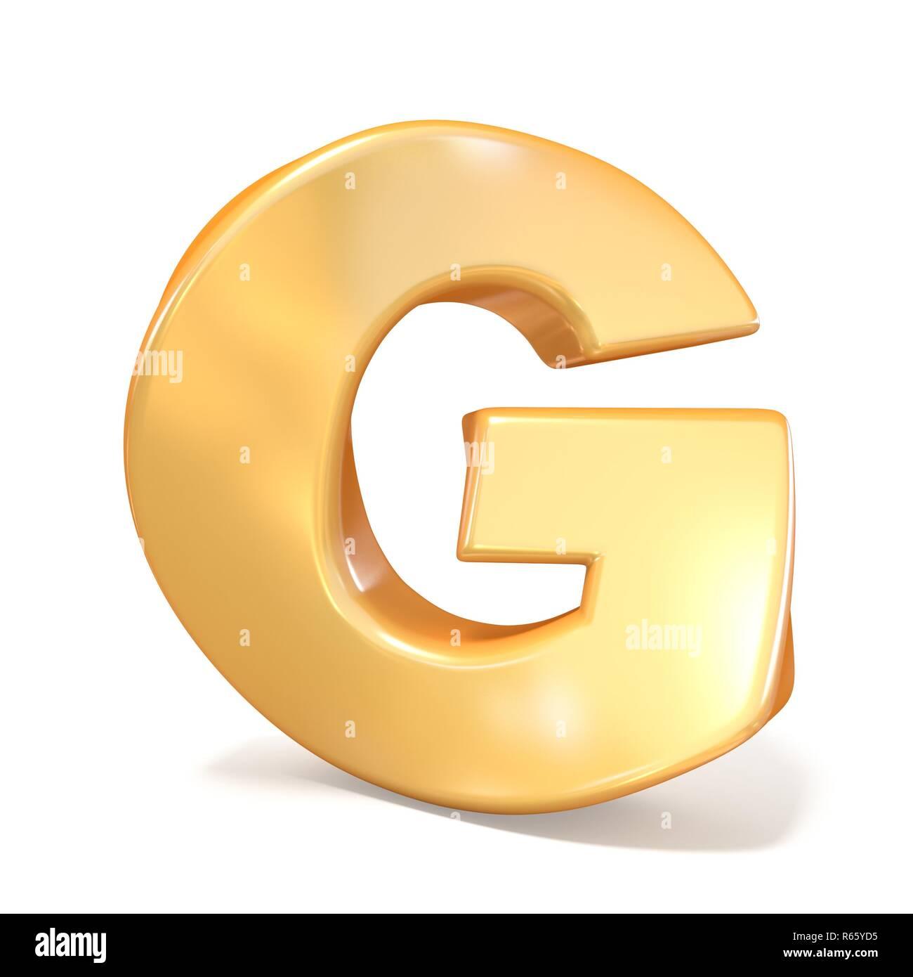 Orange twisted font uppercase letter G 3D - Stock Image