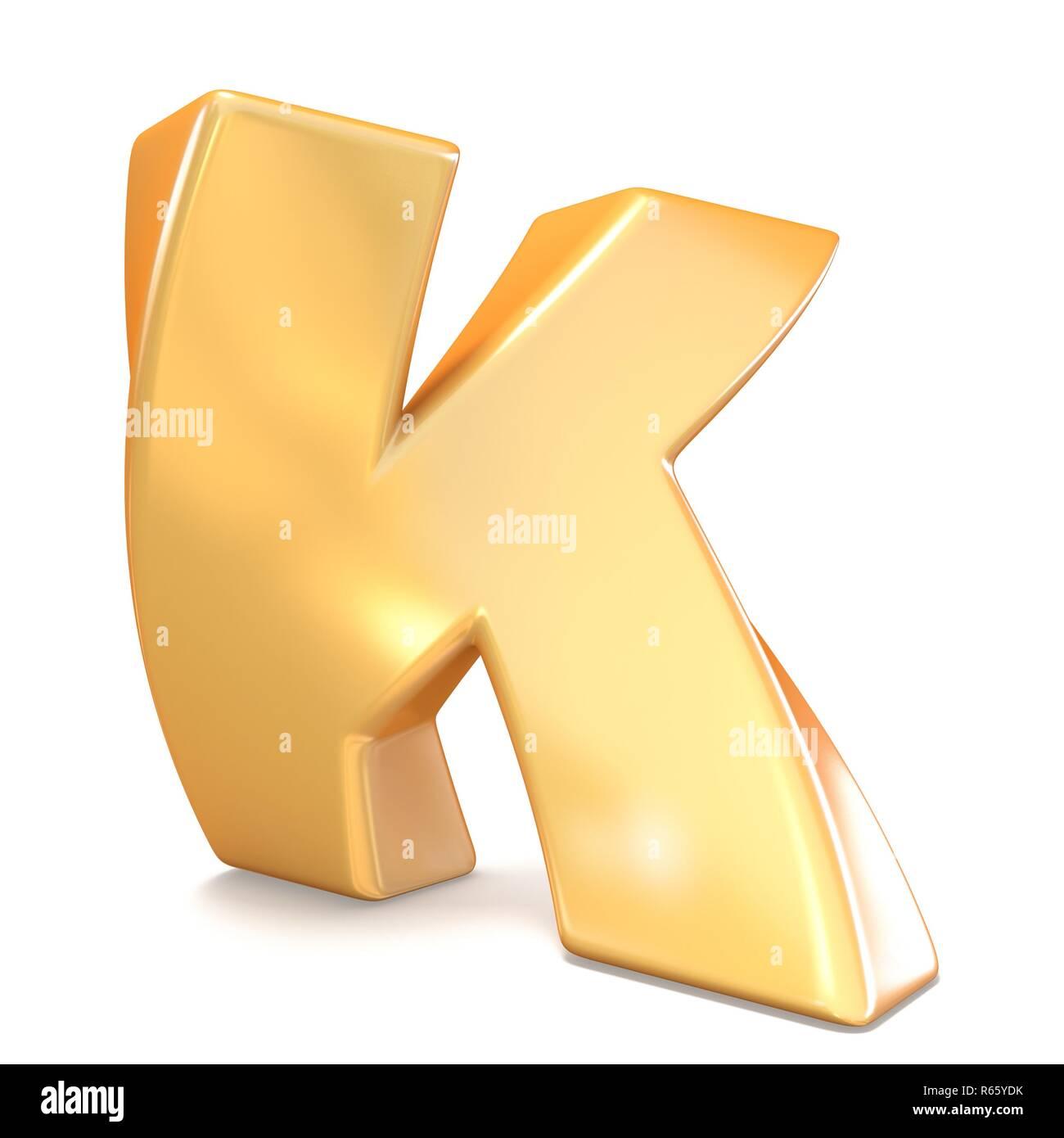 Orange twisted font uppercase letter K 3D - Stock Image