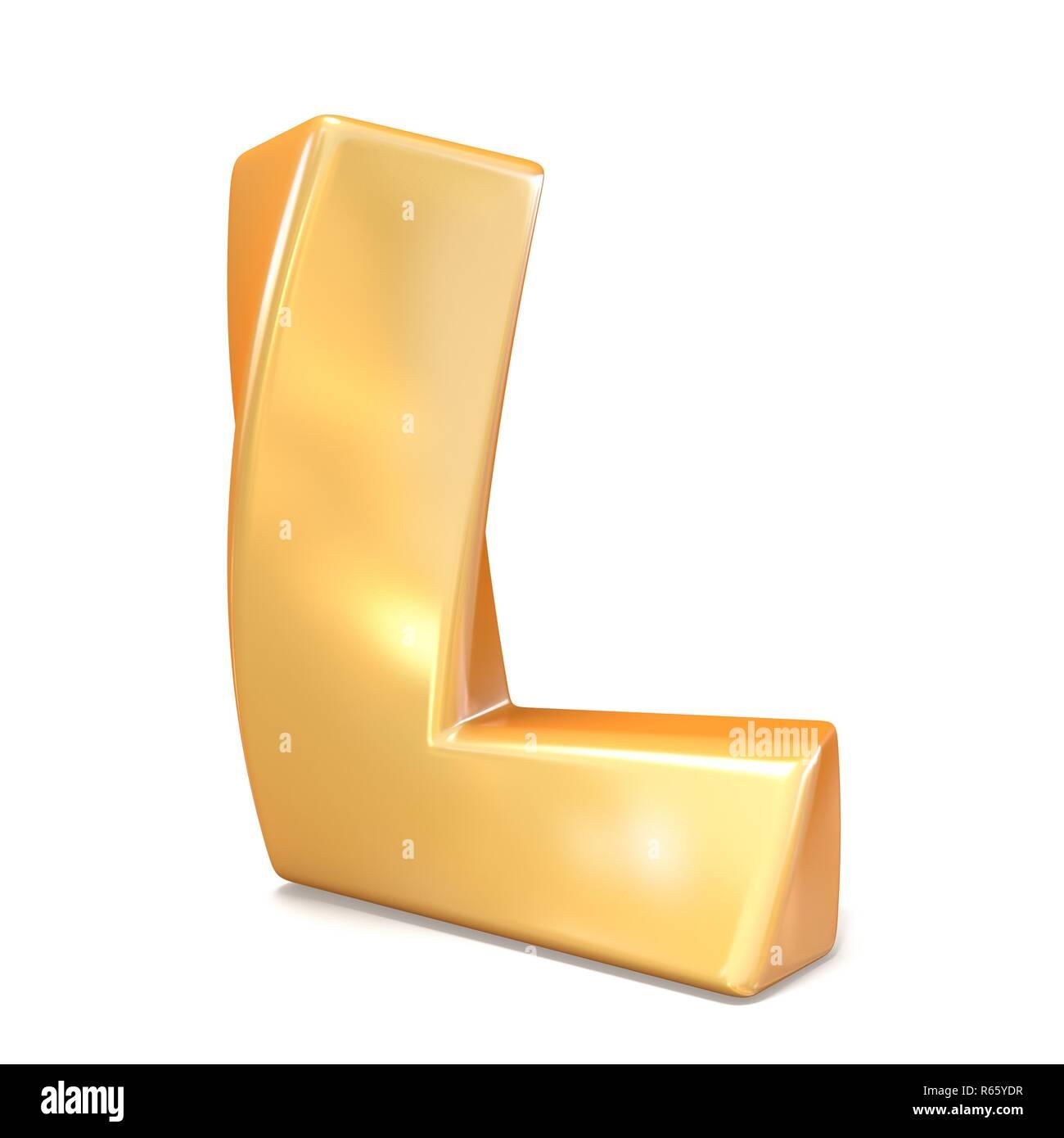Orange twisted font uppercase letter L 3D - Stock Image