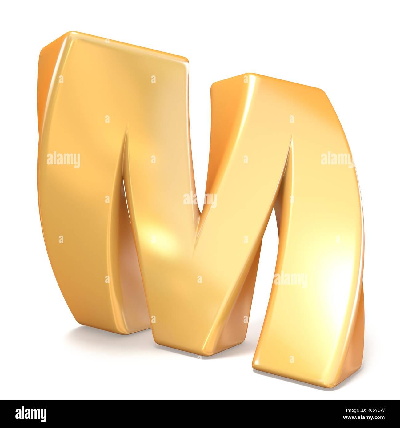 Orange twisted font uppercase letter M 3D - Stock Image
