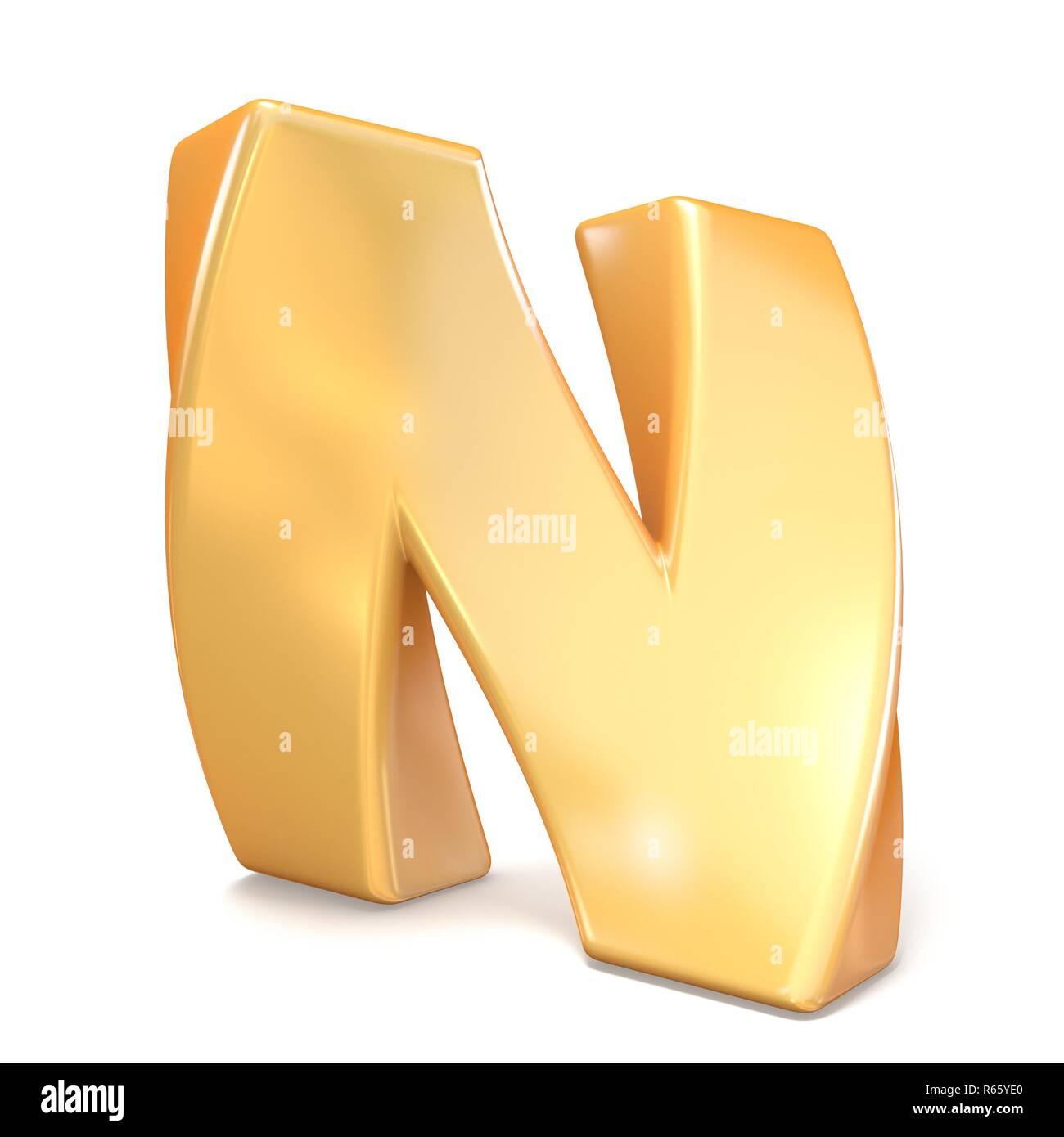 Orange twisted font uppercase letter N 3D - Stock Image
