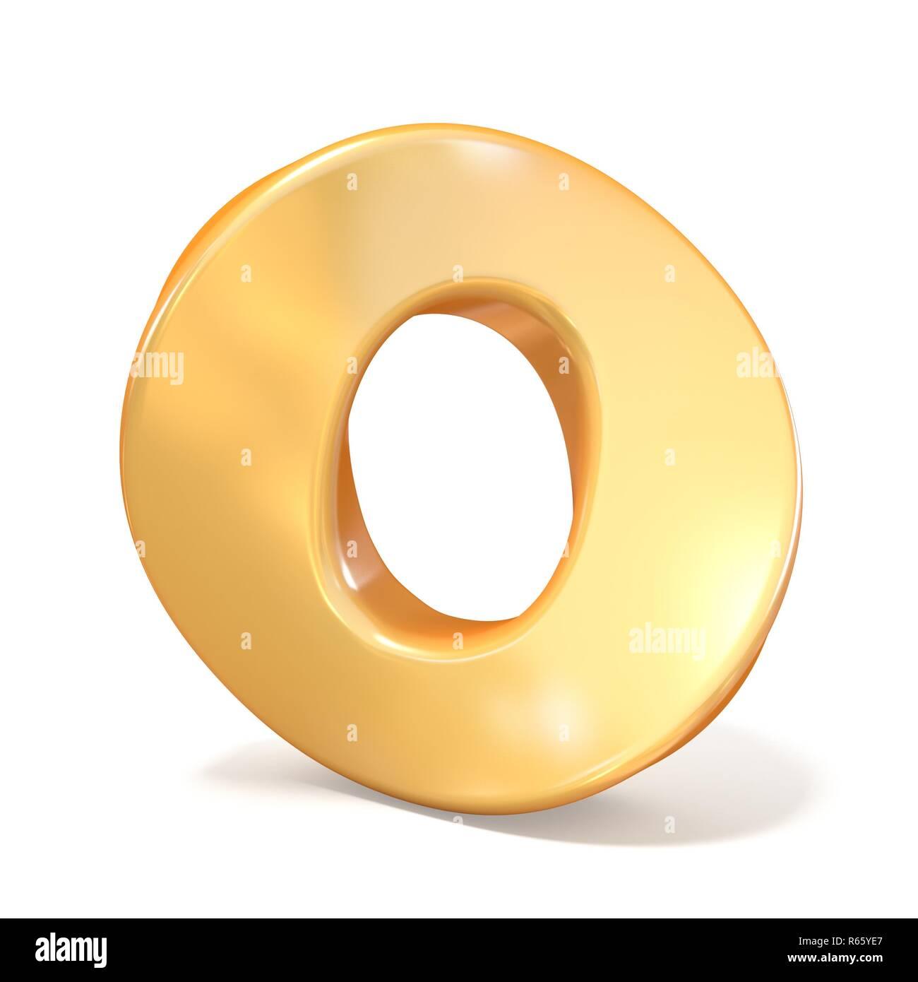 Orange twisted font uppercase letter O 3D - Stock Image