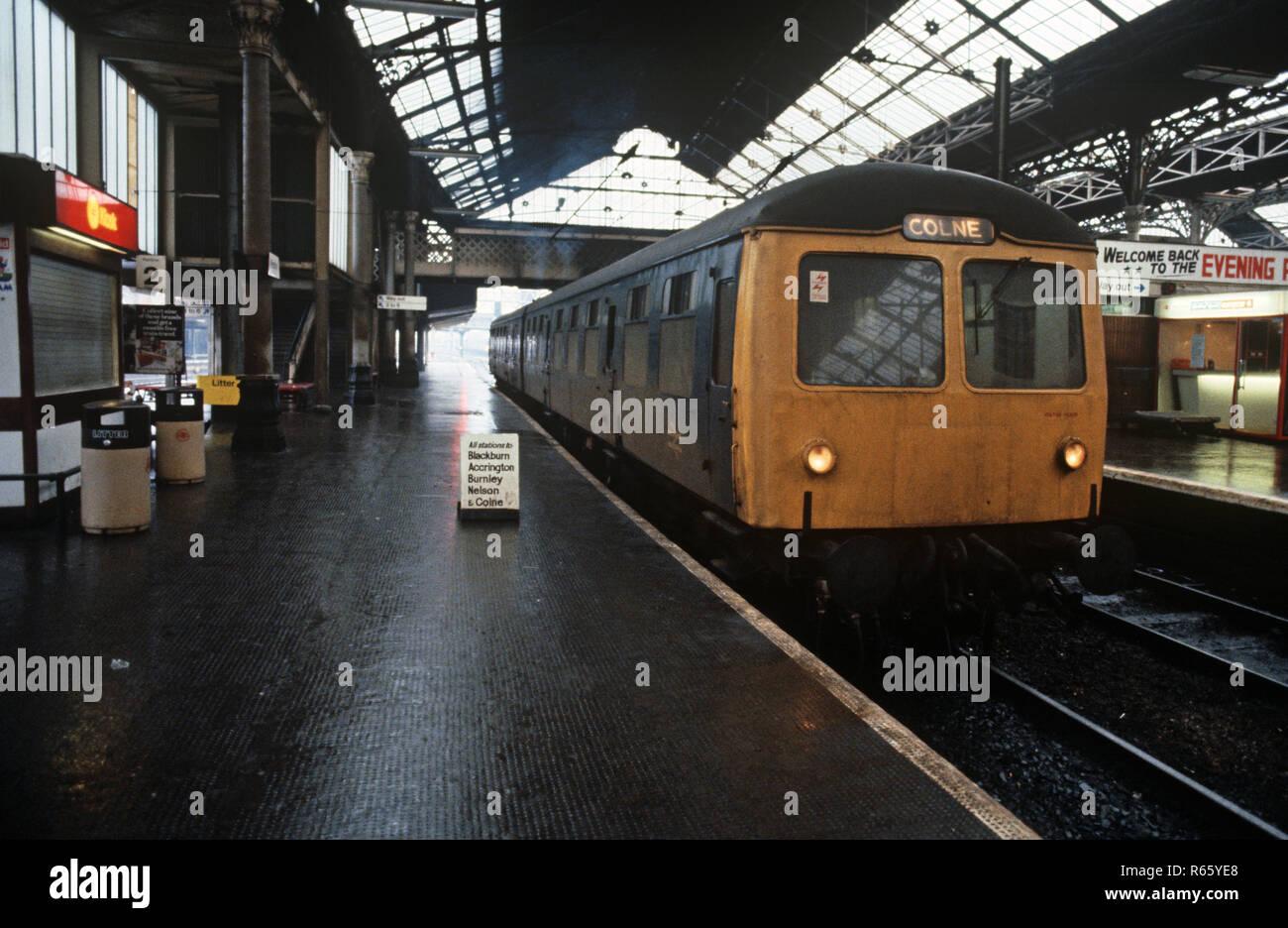 Diesel Multiple Unit at Preston station on the Preston to Colne railway line, Lancashire, Great Britain - Stock Image