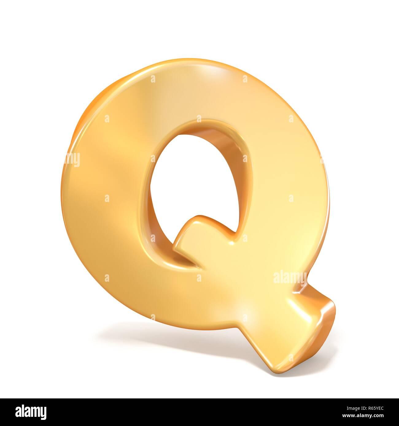 Orange twisted font uppercase letter Q 3D - Stock Image