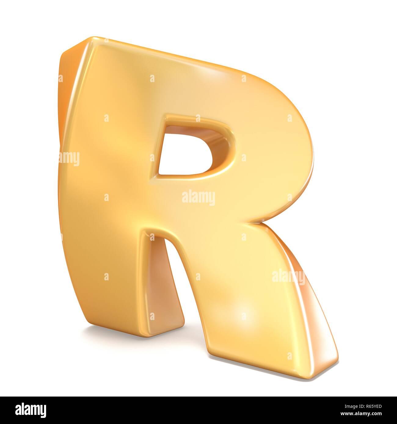 Orange twisted font uppercase letter R 3D - Stock Image