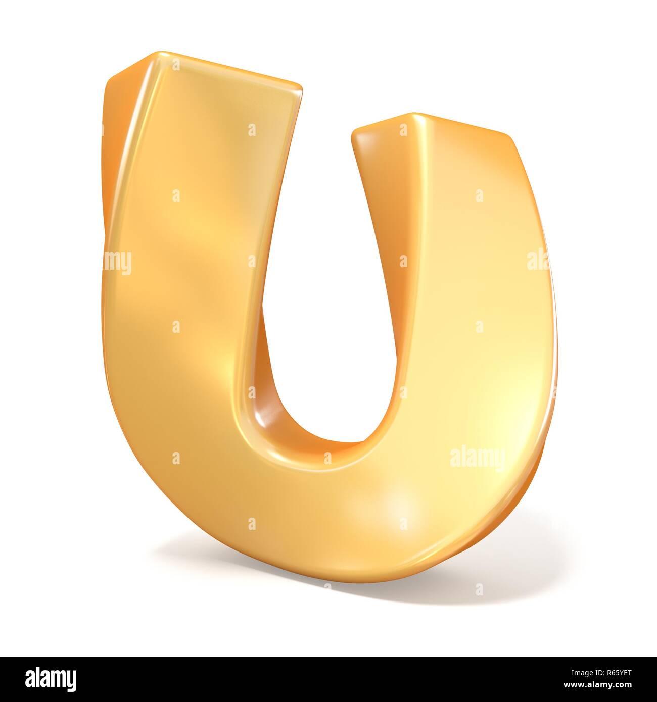 Orange twisted font uppercase letter U 3D - Stock Image