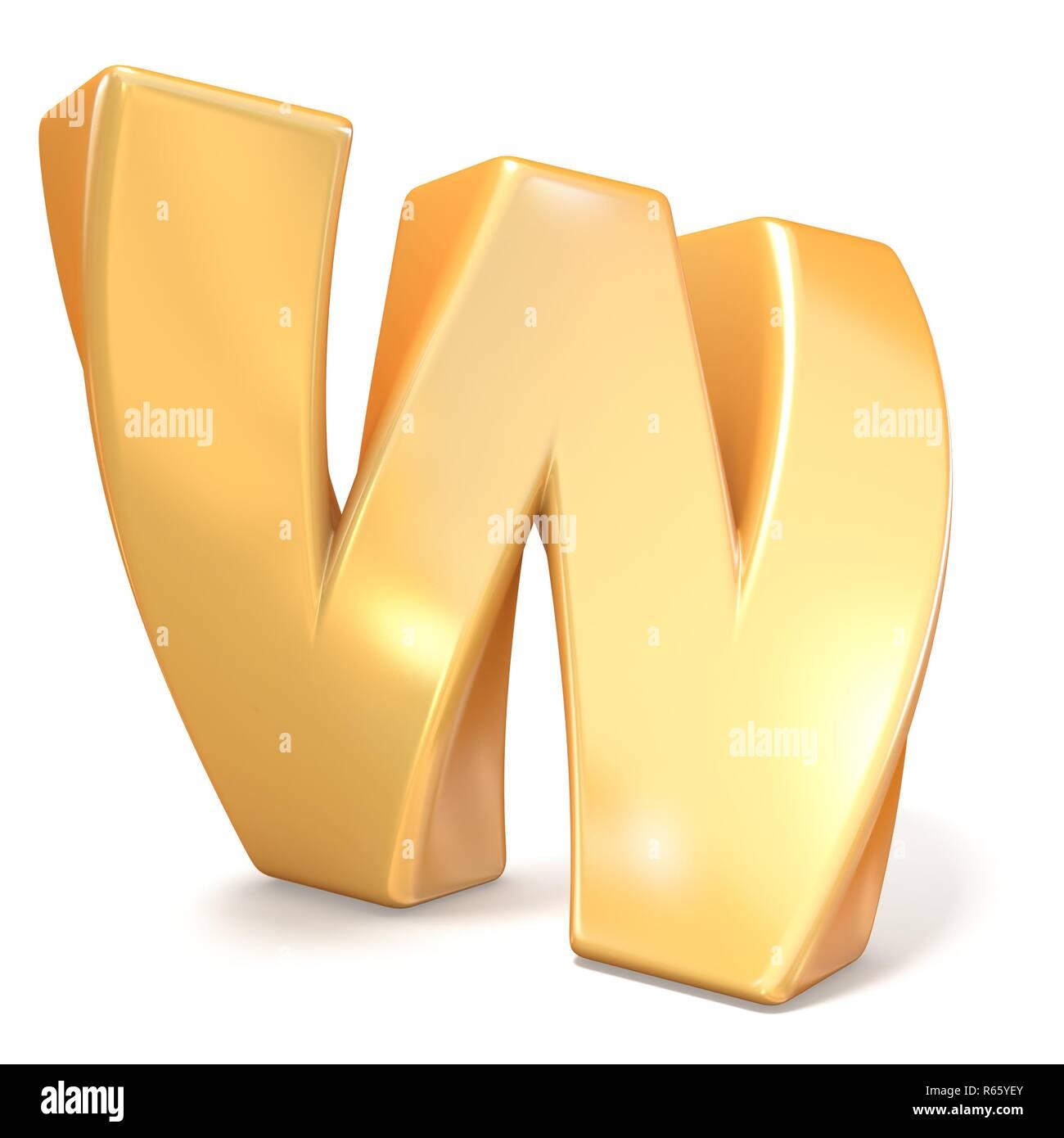 Orange twisted font uppercase letter W 3D - Stock Image