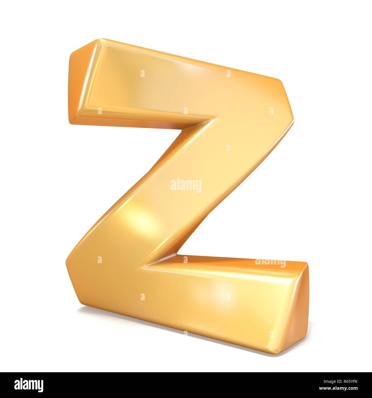 Orange twisted font uppercase letter Z 3D - Stock Image