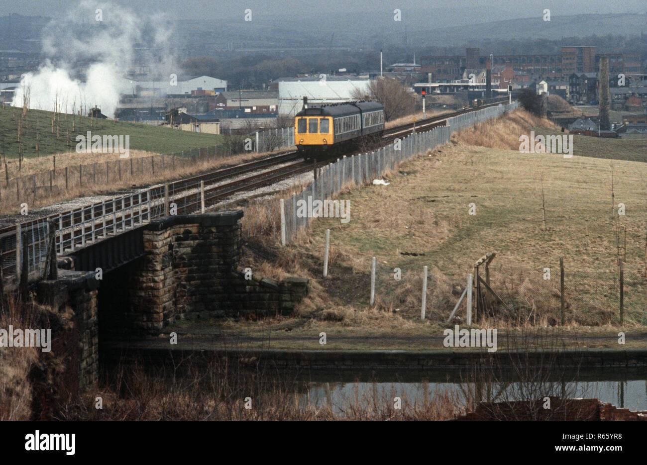Diesel multiple Unit on the British Rail Preston to Colne railway line, Lancashire, Great Britain - Stock Image