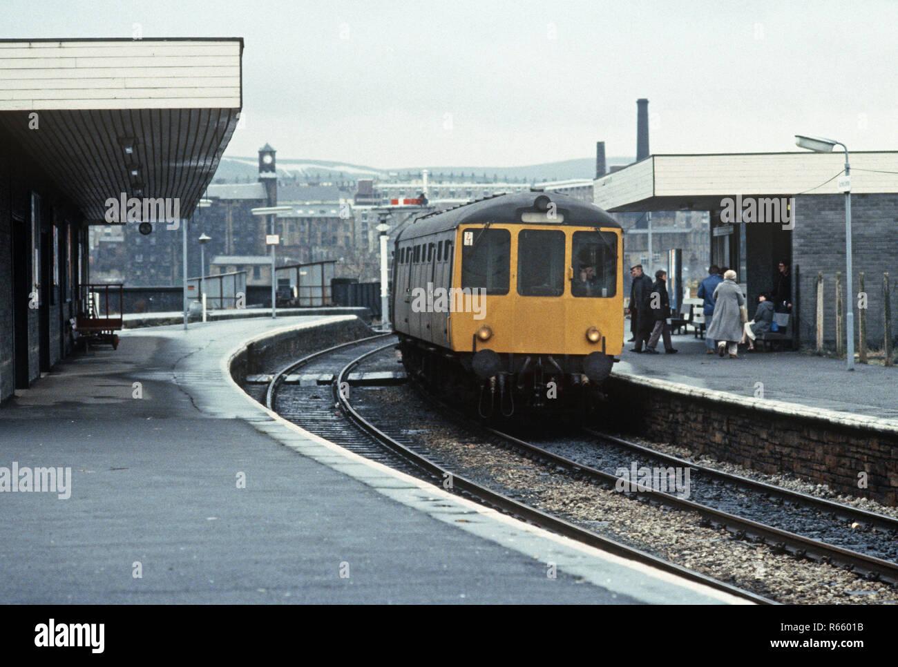 Burnley station on the British Rail Preston to Colne railway line, Lancashire, Great Britain - Stock Image