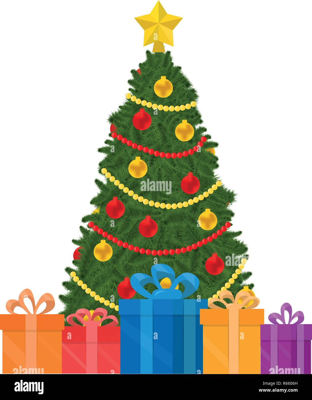 Christmas Tree Vector Image.Christmas Tree Decoration Gift Boxes Under The Tree Vector