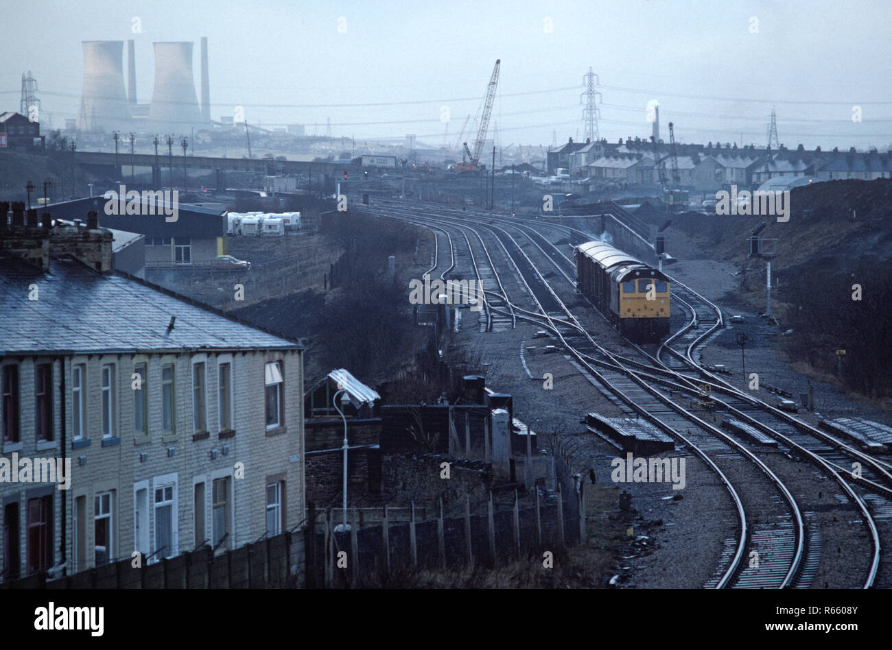 Burnley Rose Grove on the British Rail Preston to Colne railway line, Lancashire, Great Britain - Stock Image