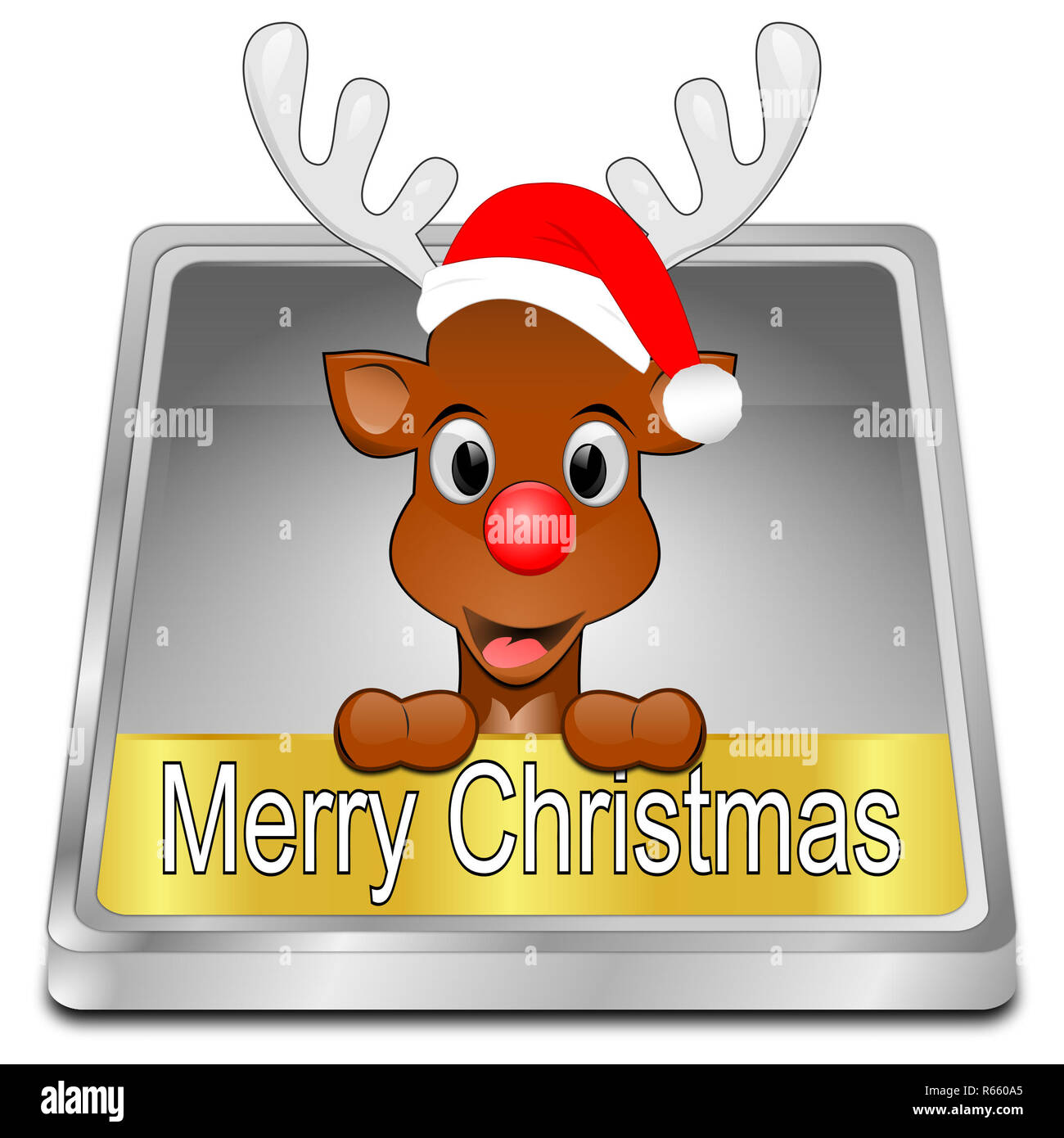 silver Reindeer wishing Merry Christmas Button - 3D illustration - Stock Image