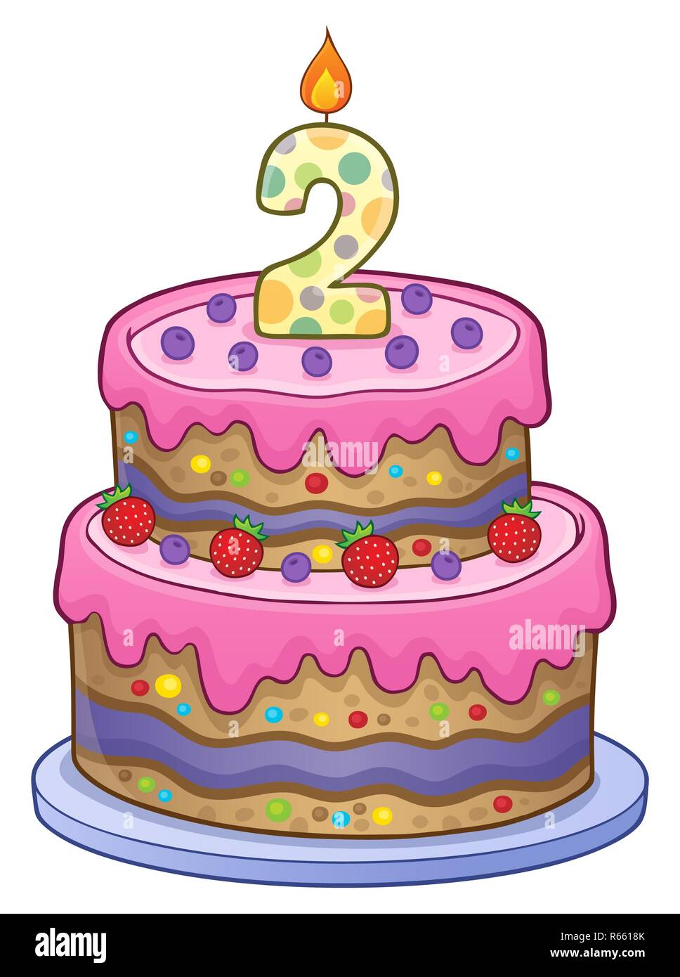 Peachy Birthday Cake Image For 2 Years Old Stock Photo 227555459 Alamy Funny Birthday Cards Online Elaedamsfinfo