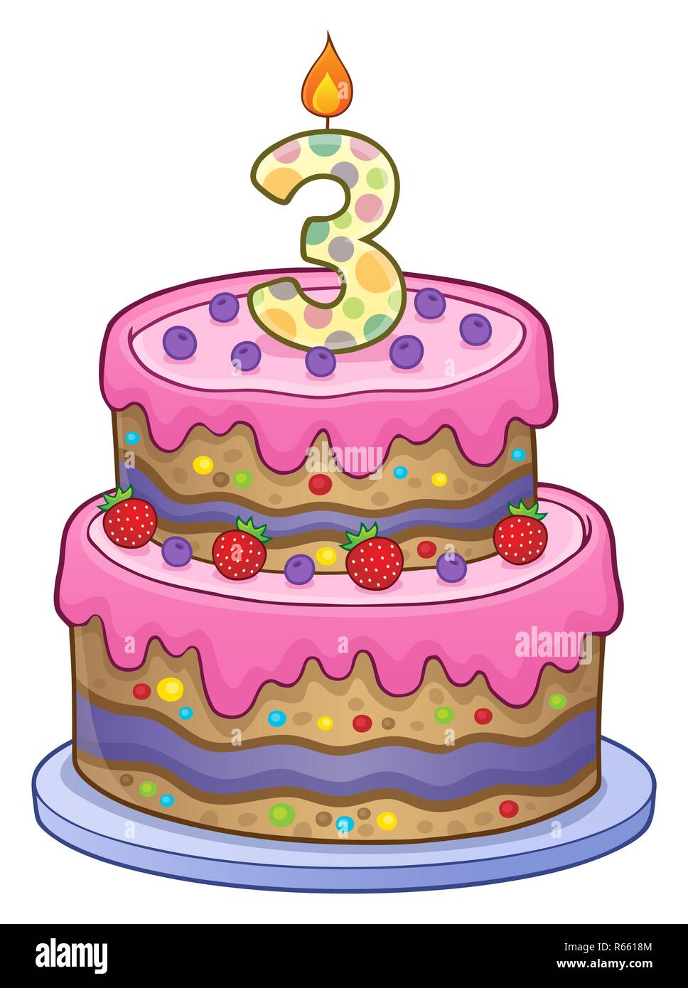 Peachy Birthday Cake Image For 3 Years Old Stock Photo 227555460 Alamy Funny Birthday Cards Online Overcheapnameinfo