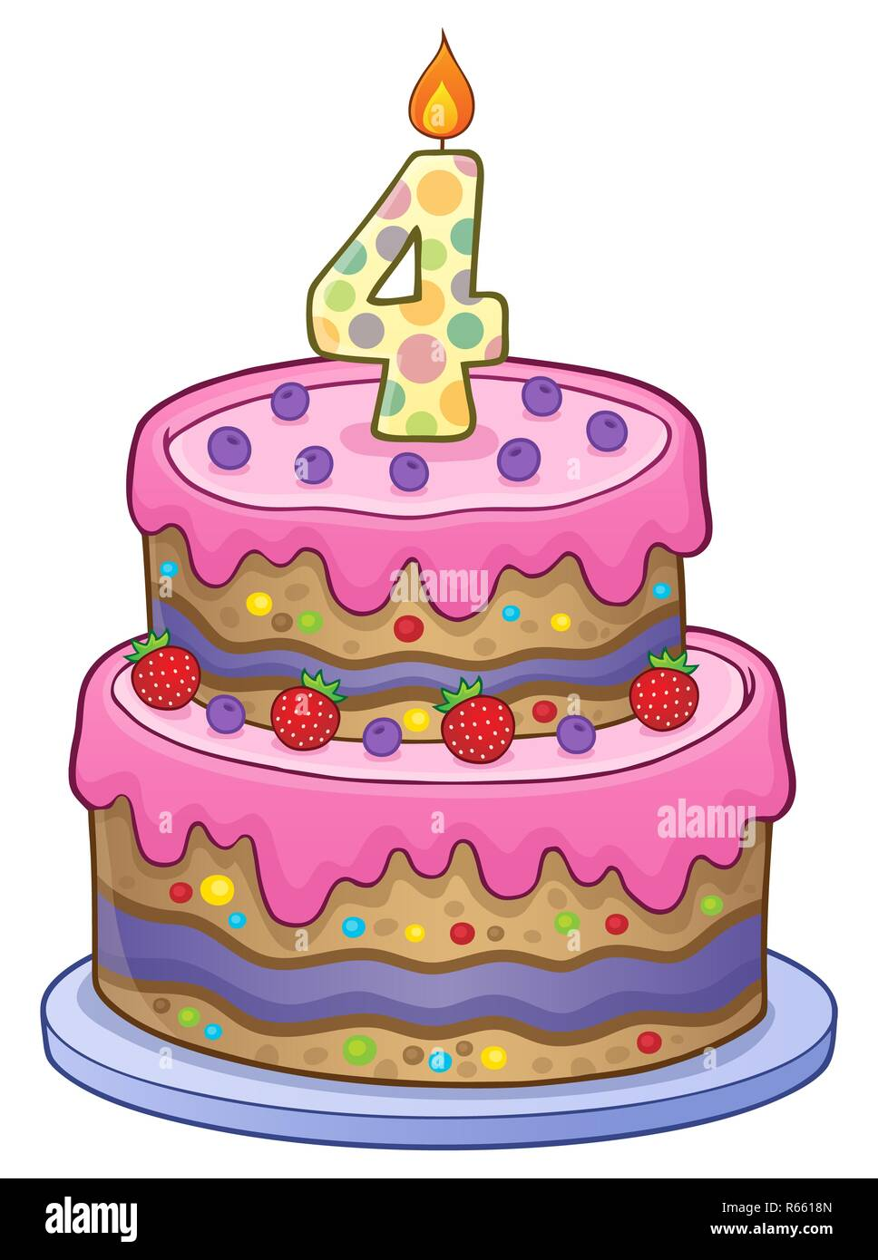 Pleasant Birthday Cake Image For 4 Years Old Stock Photo 227555461 Alamy Personalised Birthday Cards Veneteletsinfo