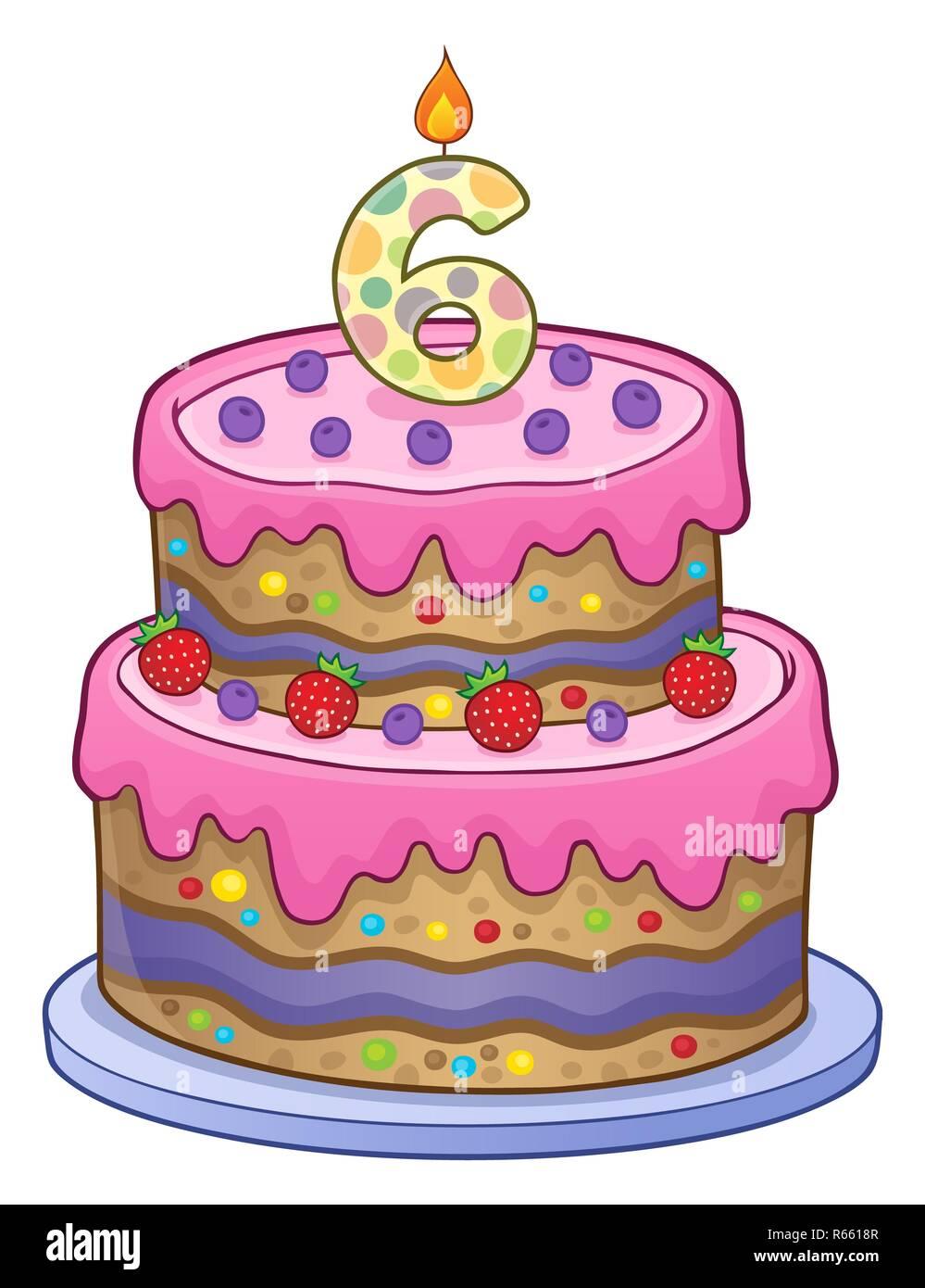 Surprising Birthday Cake Image For 6 Years Old Stock Photo 227555463 Alamy Personalised Birthday Cards Vishlily Jamesorg