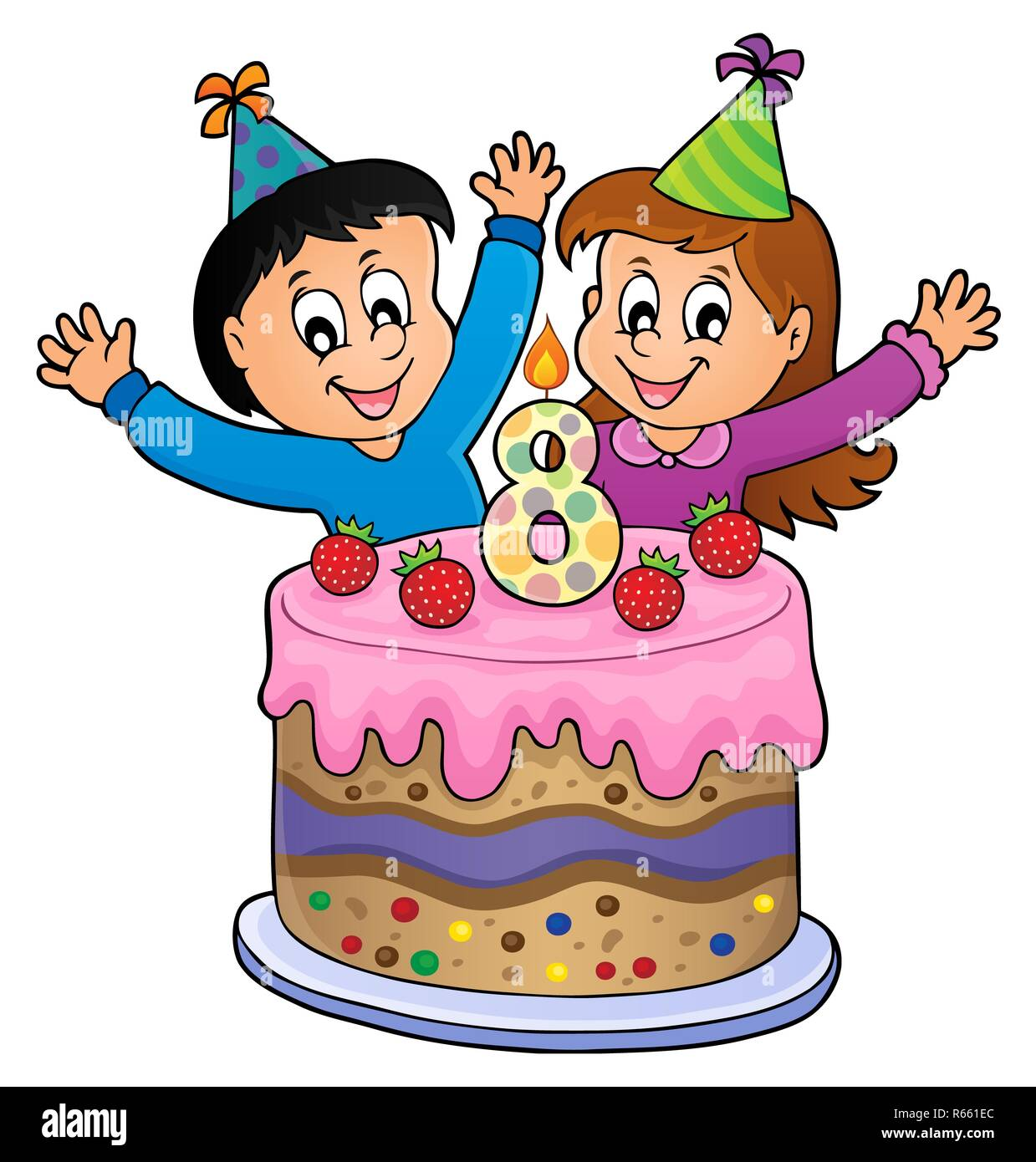 Wondrous Eight Year Old Birthday Cake Cut Out Stock Images Pictures Alamy Funny Birthday Cards Online Chimdamsfinfo
