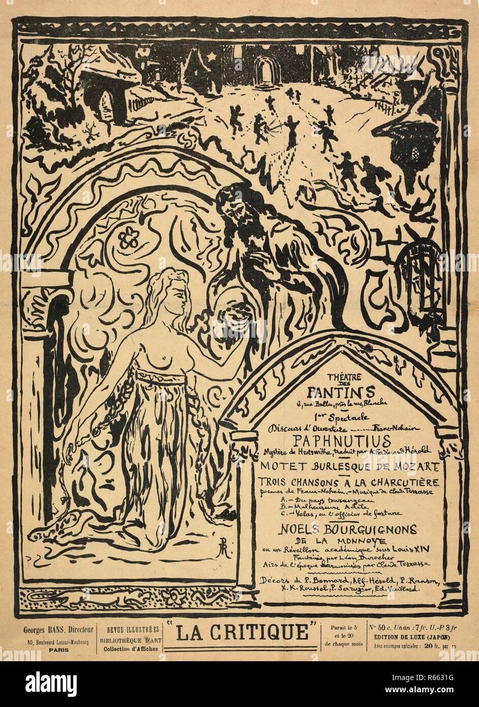 Theatre programme for Paphnutius by Hrotswitha (Théâtre des Pantins, 27 December 1897). Dimensions: 34.5 cm x 25.8 cm, 31.1 cm x 23.4 cm. Museum: Van Gogh Museum, Amsterdam. Author: Ranson, Paul Elie. - Stock Image