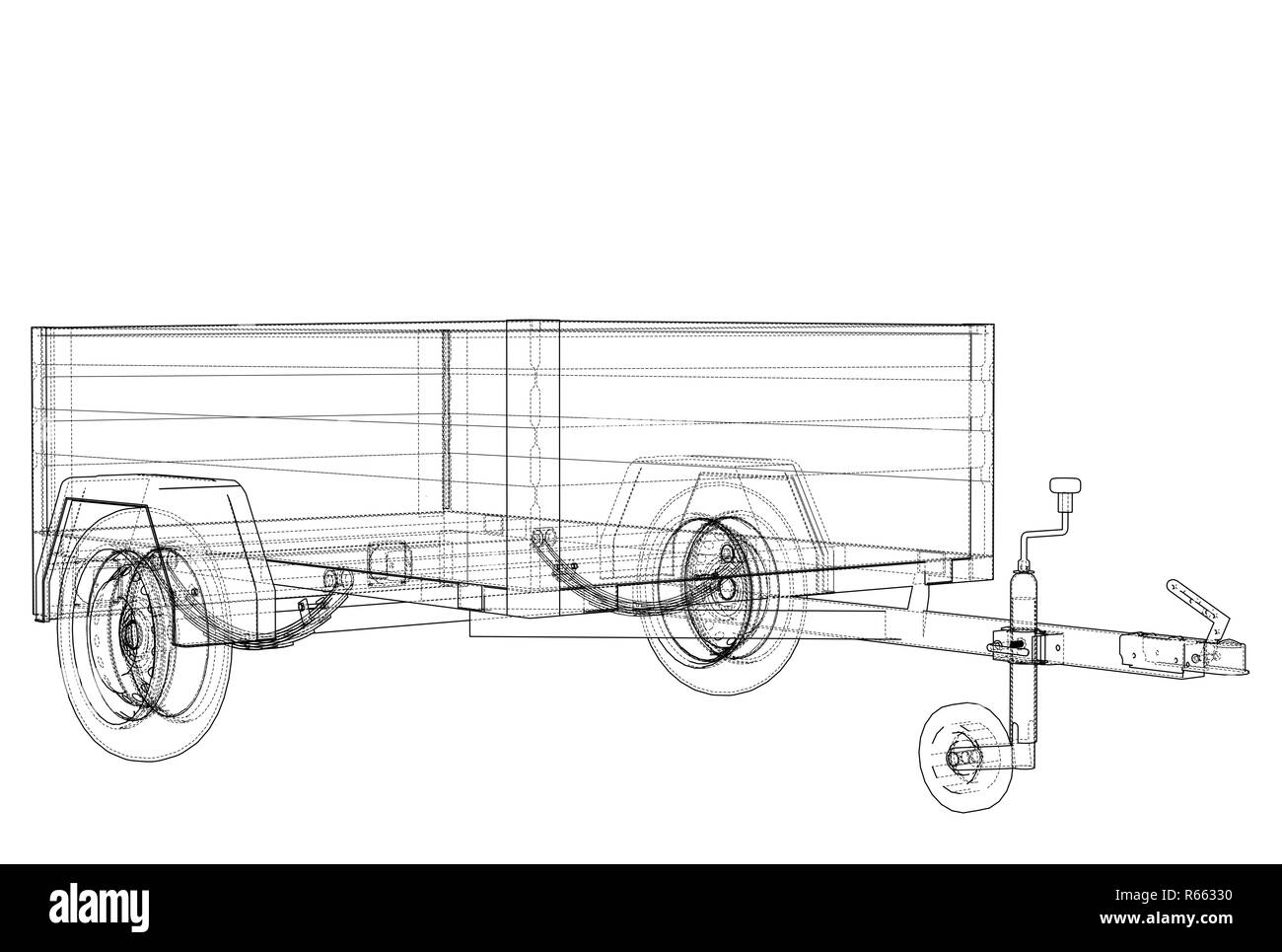Wire Frame Model Black And White Stock Photos Images Alamy Picture Diagram Open Trailer Sketch 3d Illustration Style Image