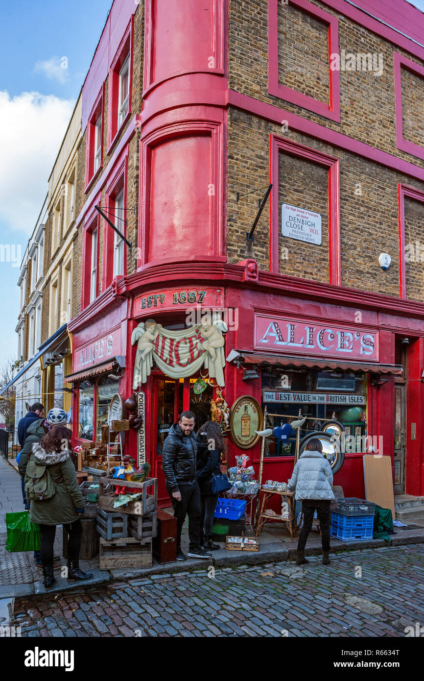 Alice's, collectables shop, Portobello Road, Notting Hill - Stock Image
