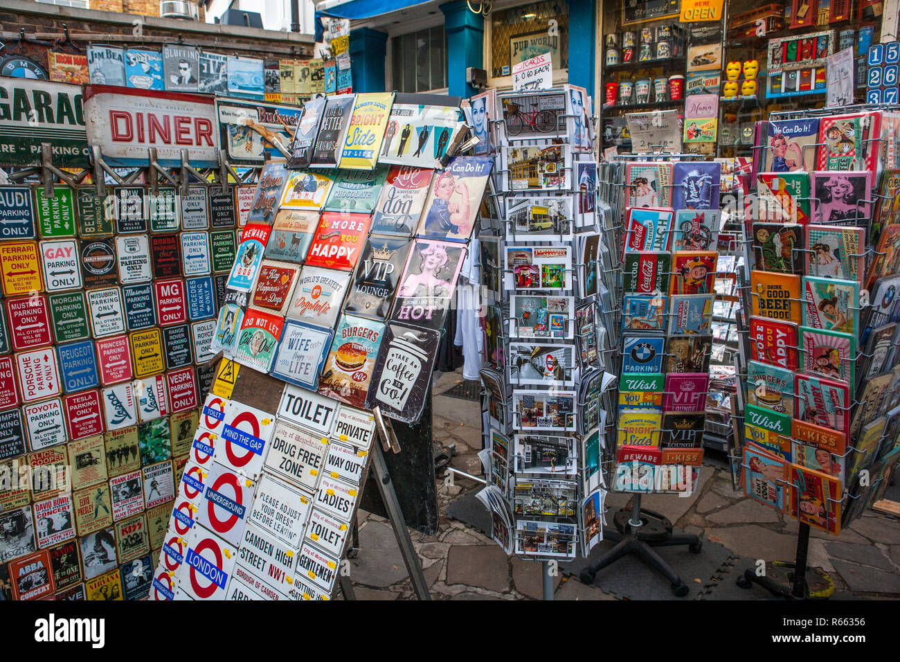 Stands of London Memorabilia and Embossed Signs, Portobello Road, Notting Hill - Stock Image