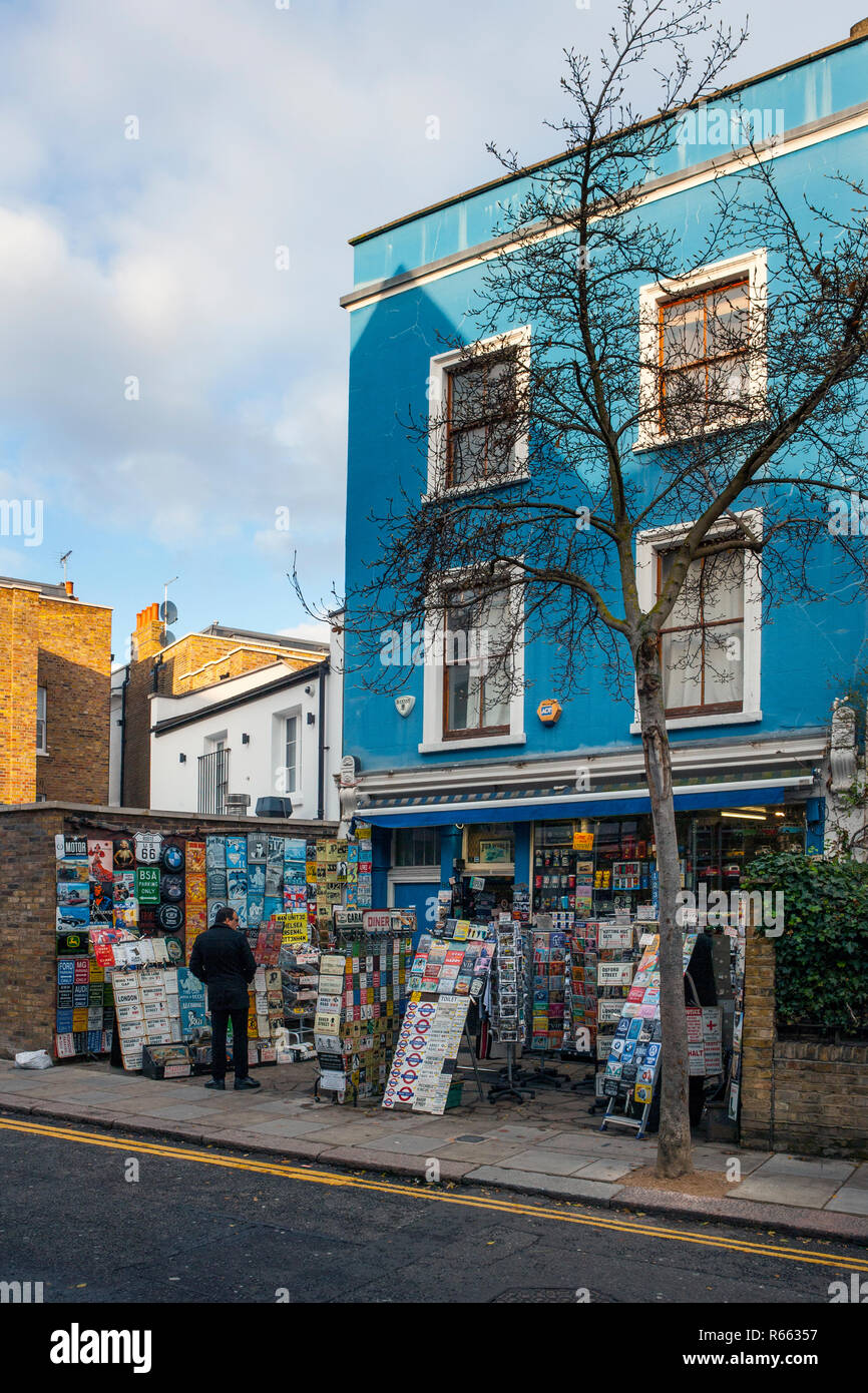 Shop selling postcards, London memorabilia and embossed signs, Portobello Road, Notting Hill Stock Photo