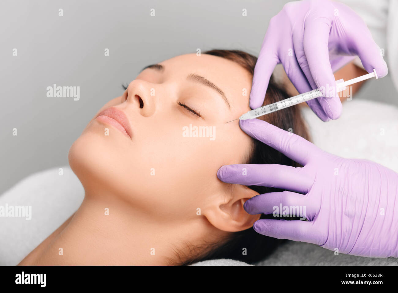 facial injections for facelift and anti-aging effect, wrinkle removing Stock Photo