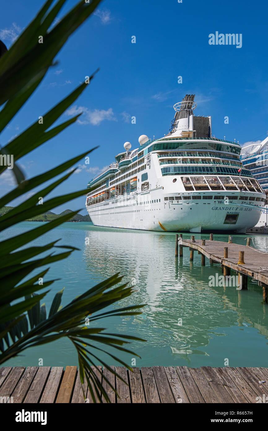 Royal Caribbean Grandeur of the Seas cruise ship at St. John's Port Antigua - Stock Image