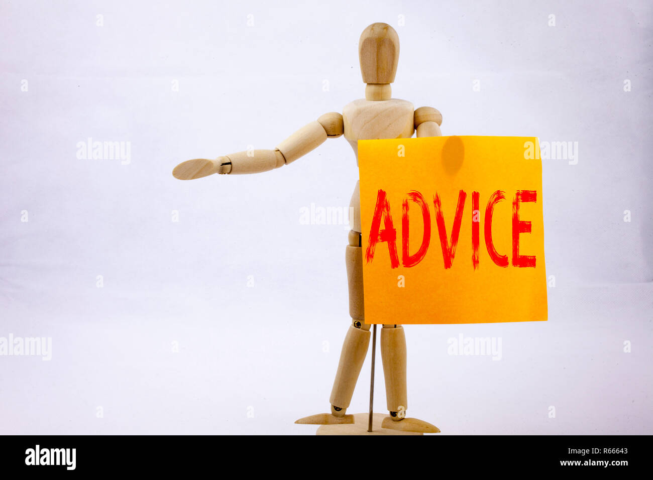 Conceptual hand writing text caption inspiration showing Advice Business concept for Suggestion guidance concept written on sticky note sculpture background with space - Stock Image