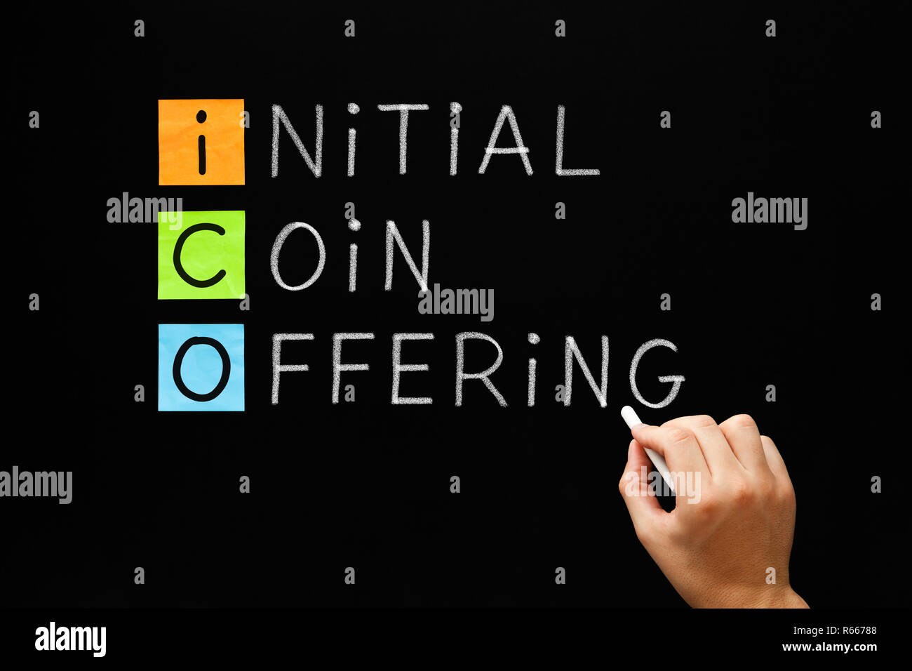 ICO - Initial Coin Offering - Stock Image
