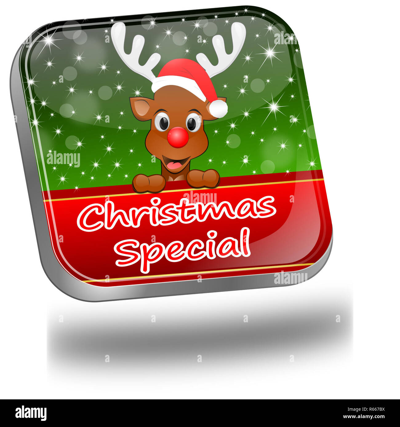 decorative green Christmas Special button - 3D illustration - Stock Image