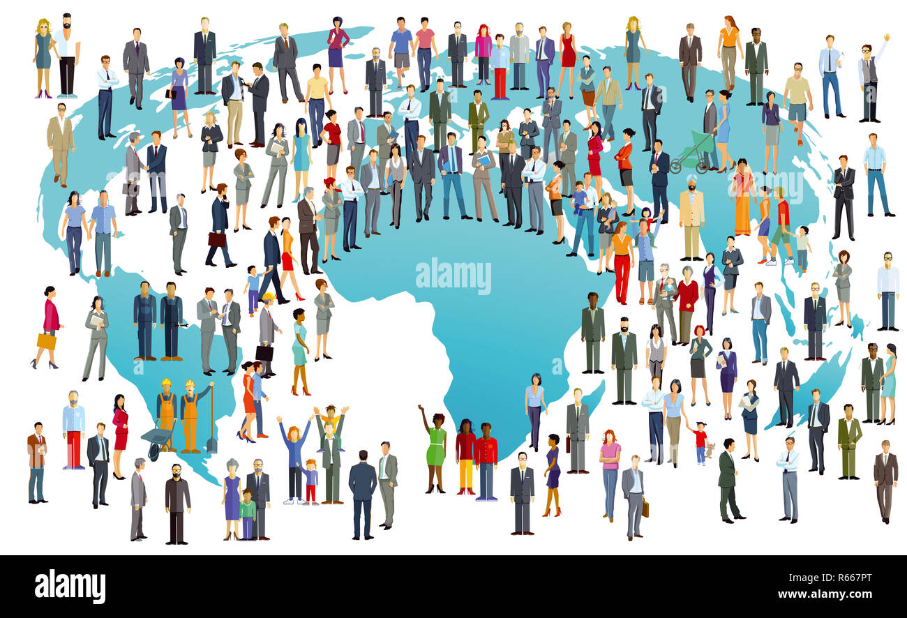 world population international,illustration Stock Photo