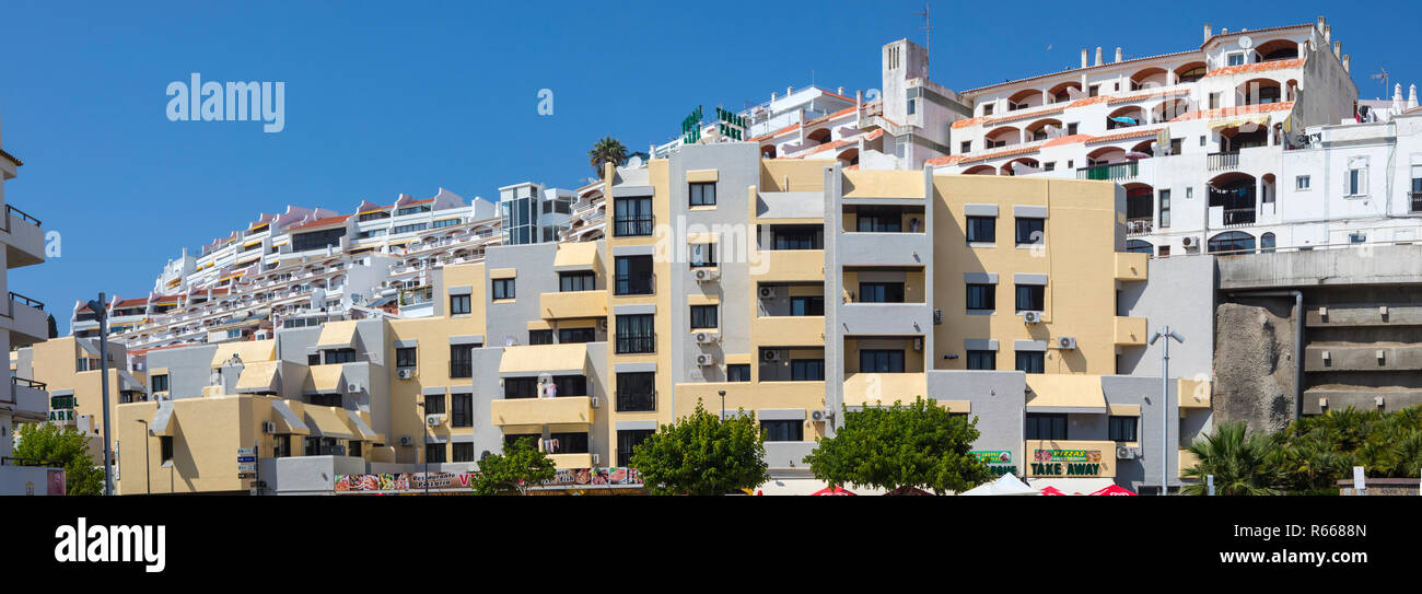 ALBUFEIRA, PORTUGAL - JULY 13TH 2018: A view of holiday Apartments in the city of Albufeira in Portugal, on 13th July 2018. - Stock Image