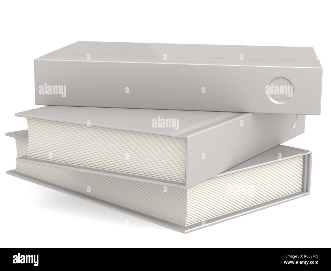 Three isolated white hard cover books - Stock Image
