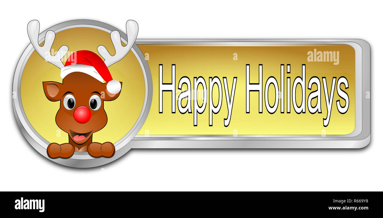 golden Reindeer wishing Happy Holidays Button - 3D illustration - Stock Image