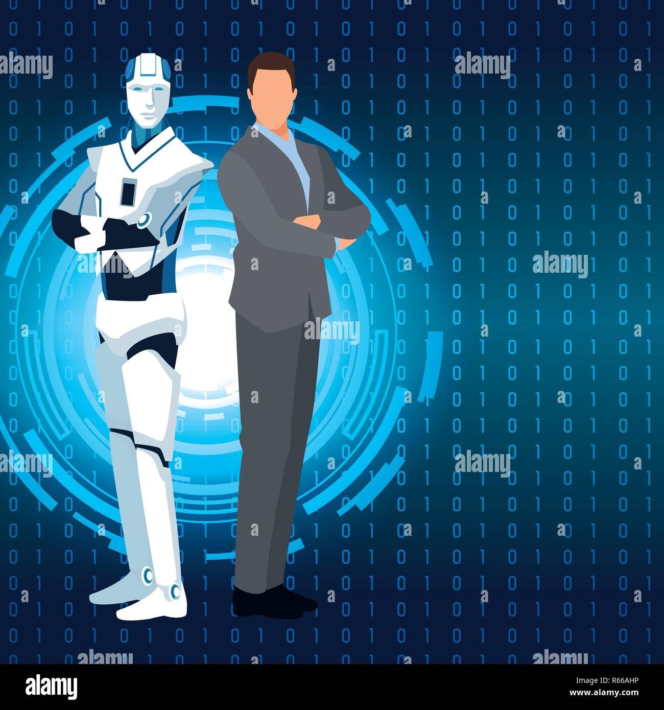 humanoid robot and businessman - Stock Image