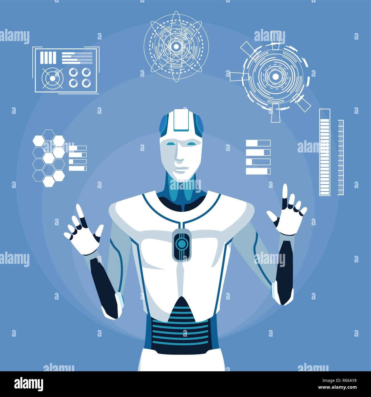 humanoid robot avatar Stock Vector