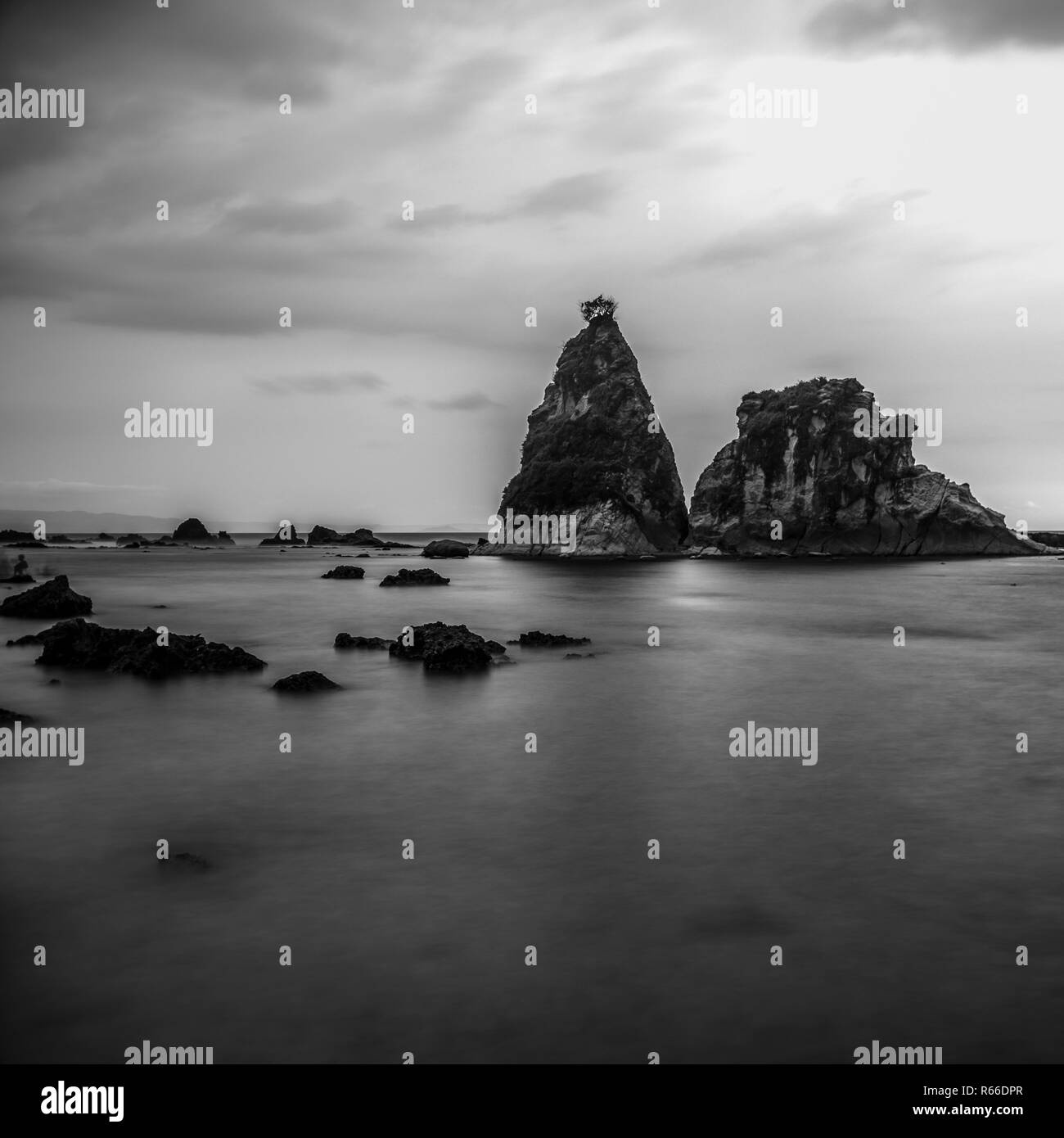 Sawarna Beach is one of the most isolated and beautiful beach in Indonesia. - Stock Image