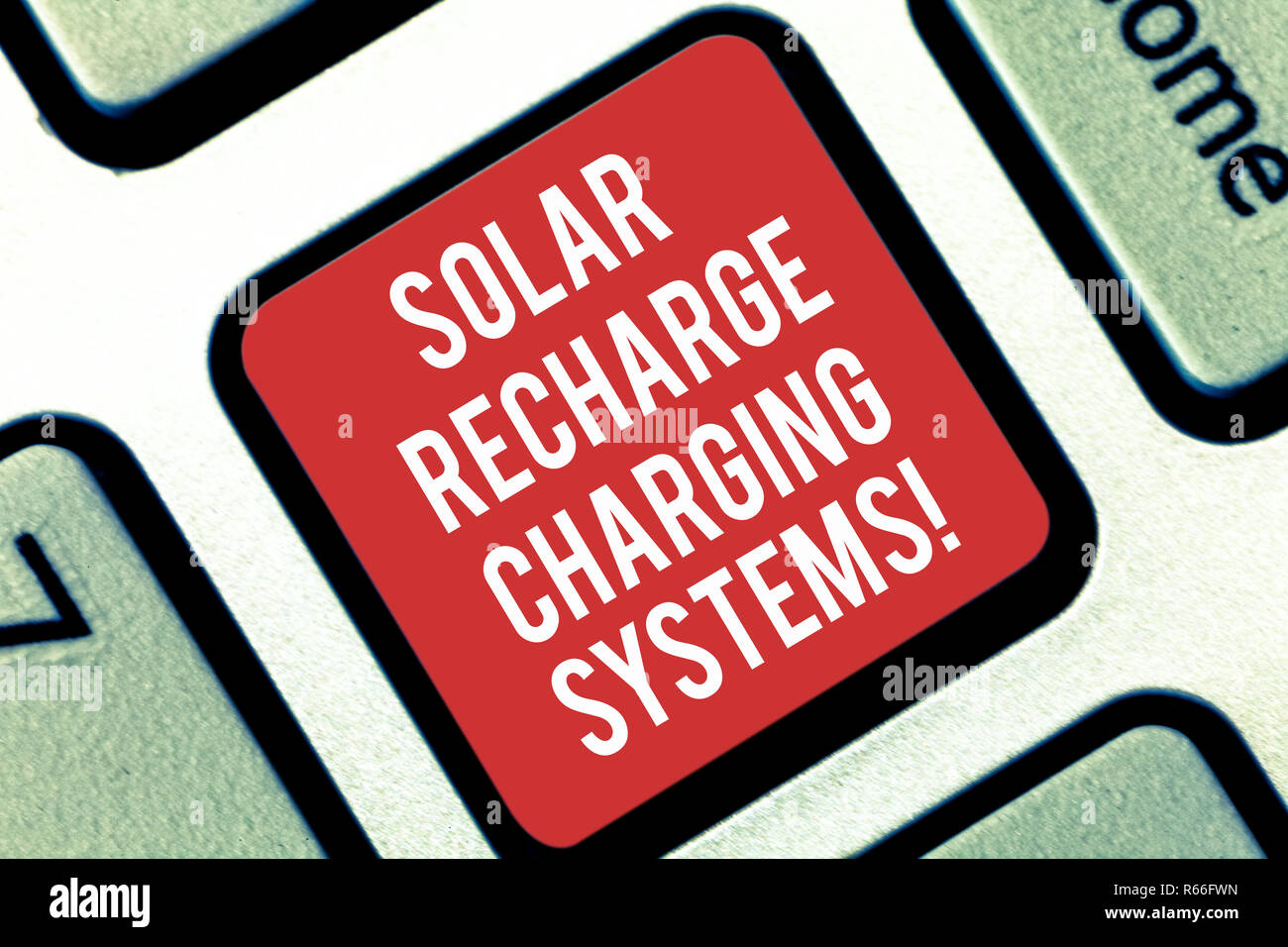 Handwriting text writing Solar Recharge Charging Systems. Concept meaning New innovative alternative energy supplies Keyboard key Intention to create  - Stock Image