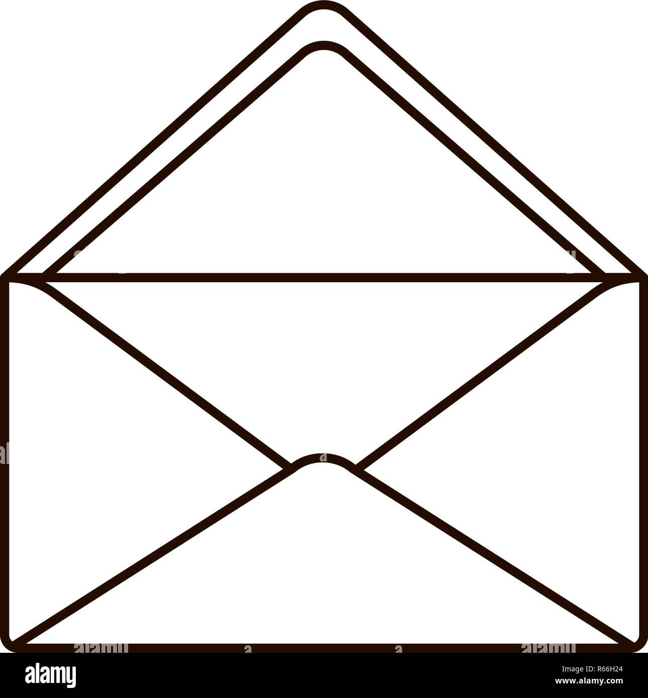 envelope with open letter isolated icon - Stock Image