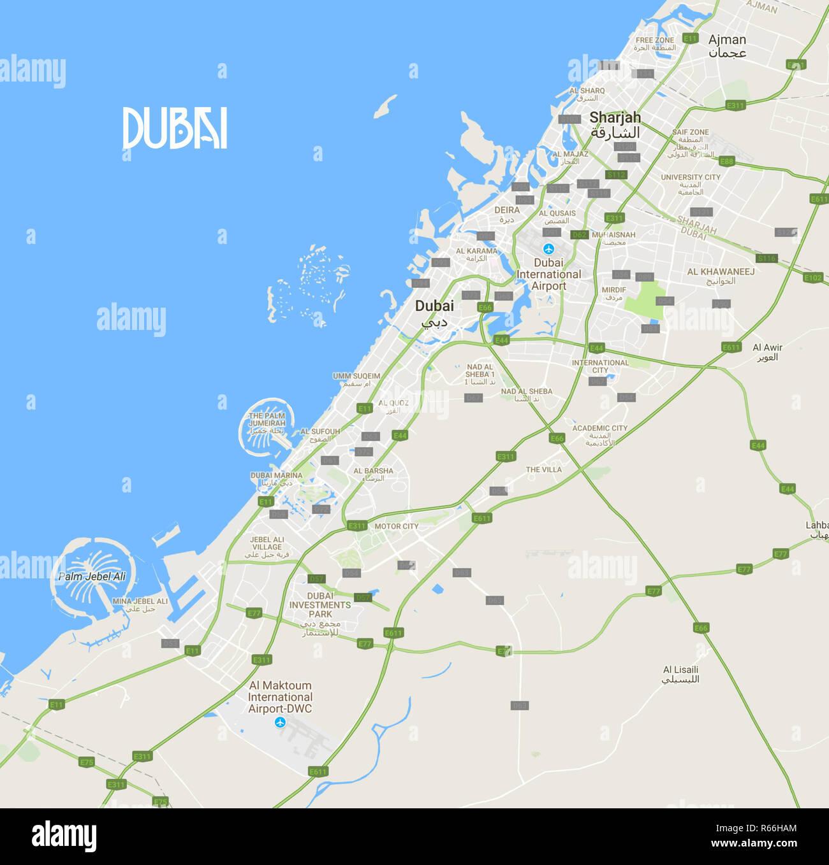 Minimalist Modern Map of Dubai, UAE 10a.jpg - R66HAM Stock ...
