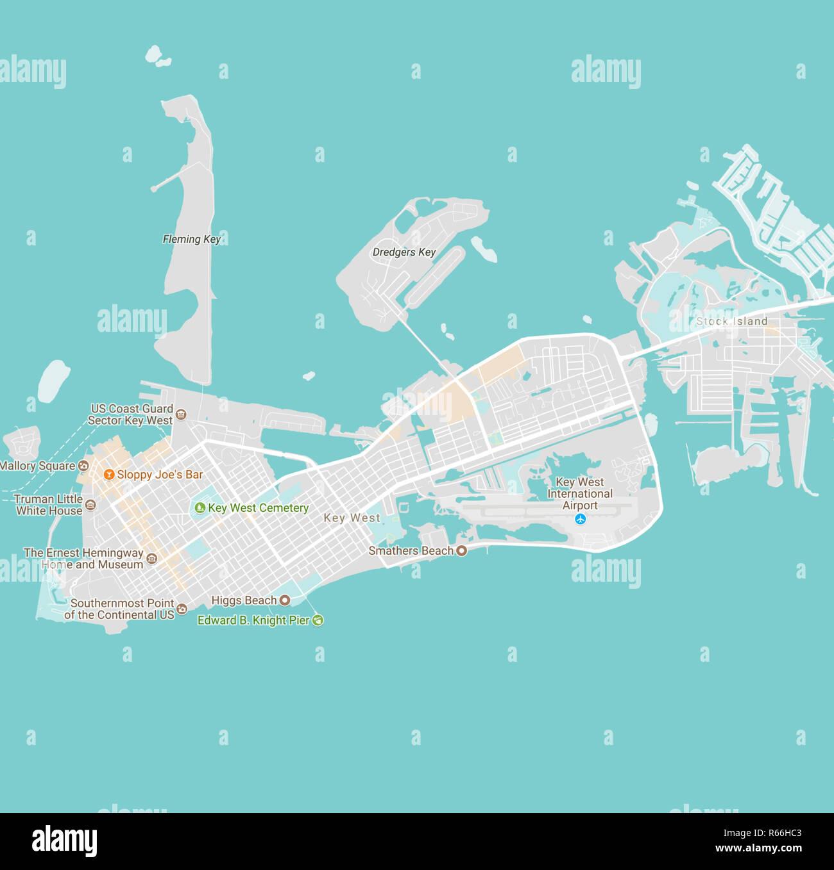 Minimalist Modern Map Of Key West Florida Usa 4 Jpg R66hc3 Stock