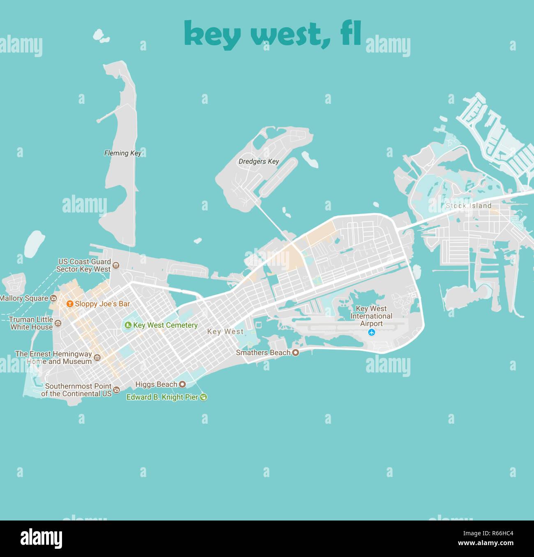 Key West Florida Map.Minimalist Modern Map Of Key West Florida Usa 4a Jpg R66hc4 Stock