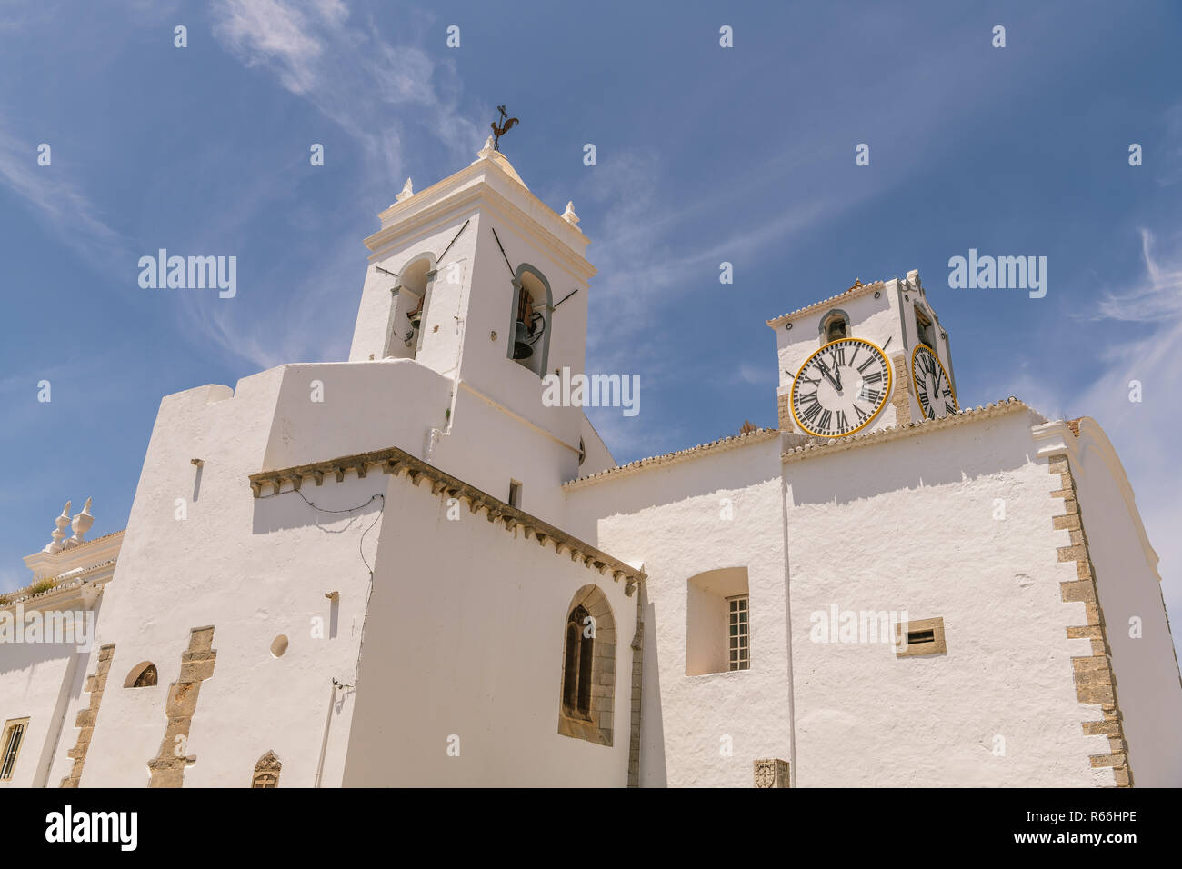 Bell Clock Tower White Stucco Stock Photos Bell Clock