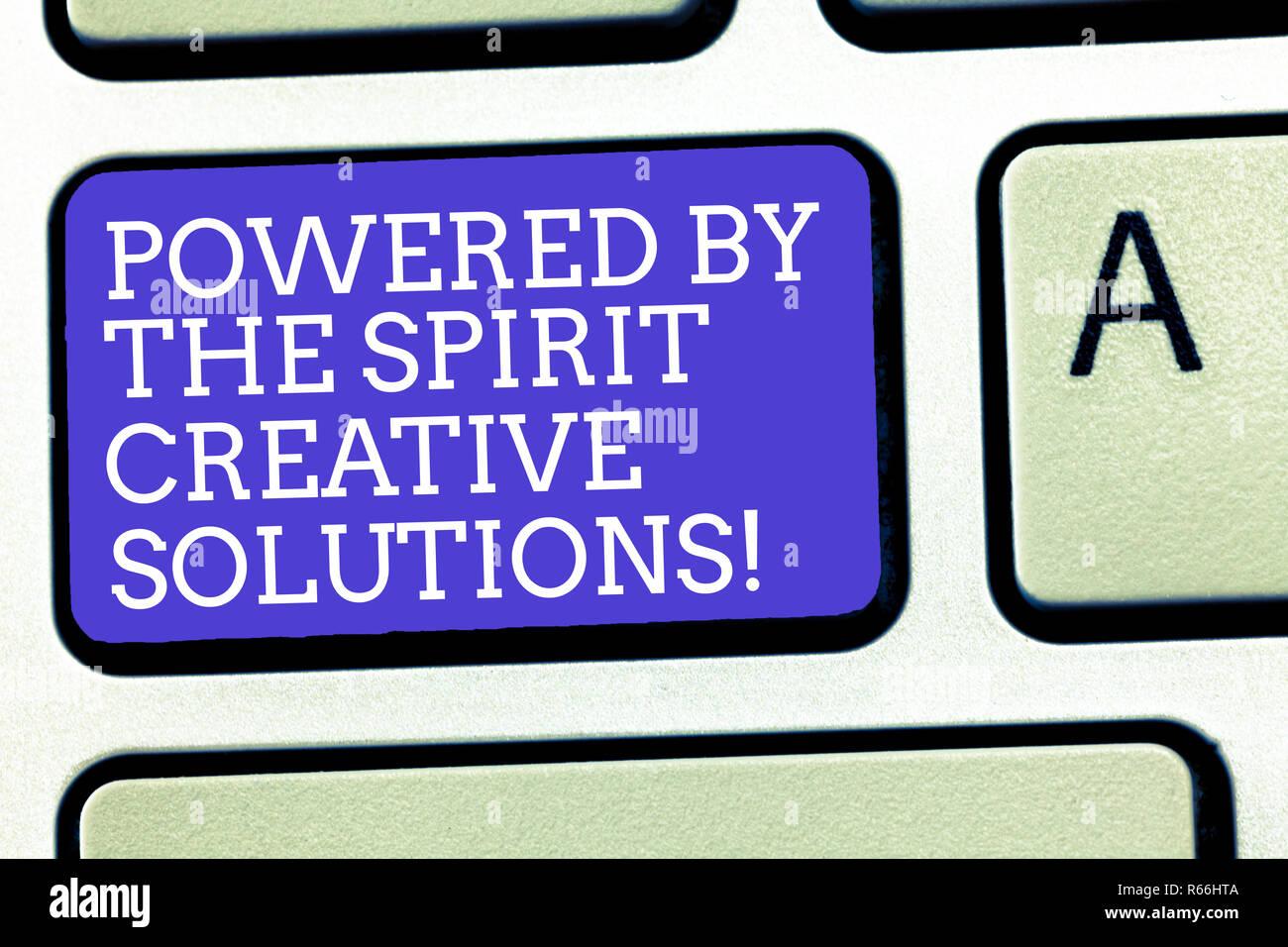 Text sign showing Powered By The Spirit Creative Solutions